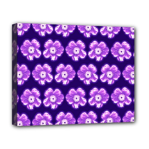 Purple Flower Pattern On Blue Deluxe Canvas 20  X 16
