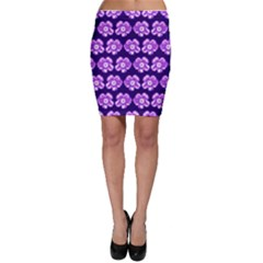 Purple Flower Pattern On Blue Bodycon Skirt