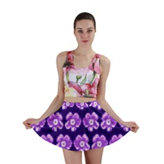 Purple Flower Pattern On Blue Mini Skirt