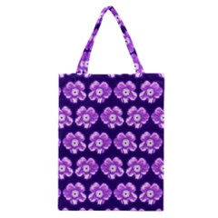 Purple Flower Pattern On Blue Classic Tote Bag by Costasonlineshop