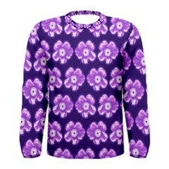 Purple Flower Pattern On Blue Men s Long Sleeve Tee