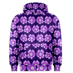 Purple Flower Pattern On Blue Men s Zipper Hoodie