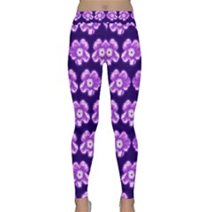 Purple Flower Pattern On Blue Classic Yoga Leggings