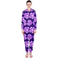 Purple Flower Pattern On Blue Hooded Jumpsuit (ladies)  by Costasonlineshop