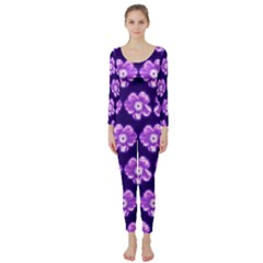 Purple Flower Pattern On Blue Long Sleeve Catsuit