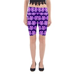 Purple Flower Pattern On Blue Yoga Cropped Leggings by Costasonlineshop