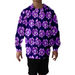 Purple Flower Pattern On Blue Hooded Wind Breaker (kids) by Costasonlineshop