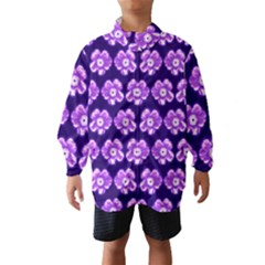 Purple Flower Pattern On Blue Wind Breaker (kids)