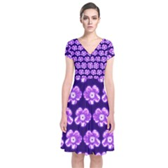 Purple Flower Pattern On Blue Short Sleeve Front Wrap Dress