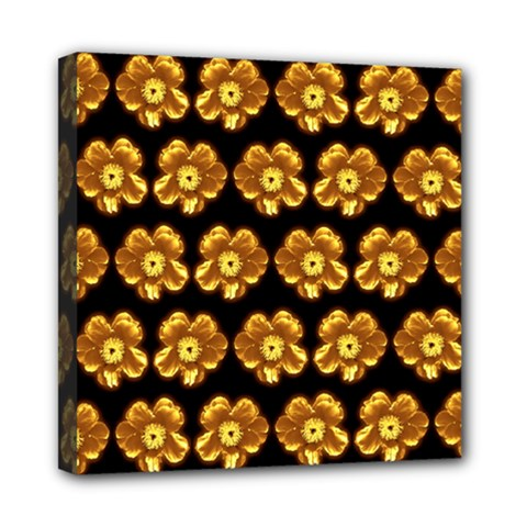 Yellow Brown Flower Pattern On Brown Mini Canvas 8  X 8