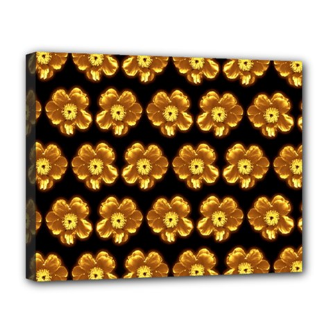 Yellow Brown Flower Pattern On Brown Canvas 14  X 11