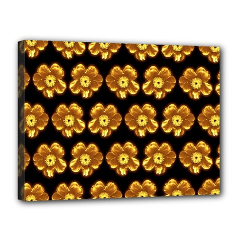 Yellow Brown Flower Pattern On Brown Canvas 16  X 12