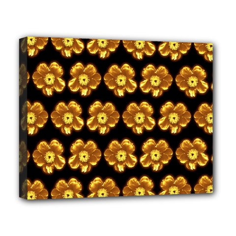 Yellow Brown Flower Pattern On Brown Deluxe Canvas 20  X 16   by Costasonlineshop