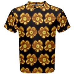 Yellow Brown Flower Pattern On Brown Men s Cotton Tee