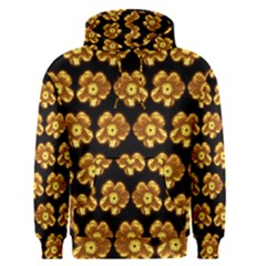 Yellow Brown Flower Pattern On Brown Men s Pullover Hoodie
