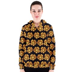 Yellow Brown Flower Pattern On Brown Women s Zipper Hoodie