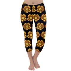 Yellow Brown Flower Pattern On Brown Capri Winter Leggings  by Costasonlineshop