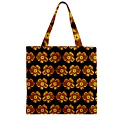 Yellow Brown Flower Pattern On Brown Zipper Grocery Tote Bag by Costasonlineshop