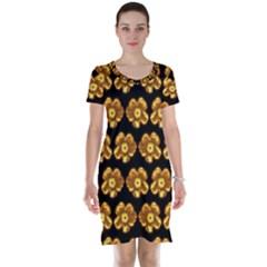 Yellow Brown Flower Pattern On Brown Short Sleeve Nightdress