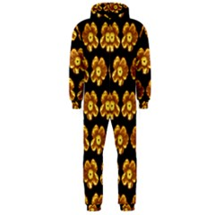 Yellow Brown Flower Pattern On Brown Hooded Jumpsuit (men)