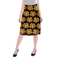 Yellow Brown Flower Pattern On Brown Midi Beach Skirt