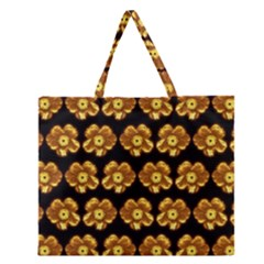 Yellow Brown Flower Pattern On Brown Zipper Large Tote Bag by Costasonlineshop
