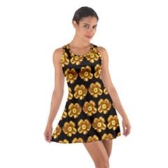 Yellow Brown Flower Pattern On Brown Cotton Racerback Dress