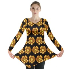 Yellow Brown Flower Pattern On Brown Long Sleeve Tunic