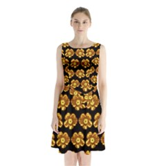 Yellow Brown Flower Pattern On Brown Sleeveless Chiffon Waist Tie Dress by Costasonlineshop