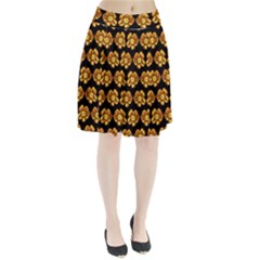 Yellow Brown Flower Pattern On Brown Pleated Skirt
