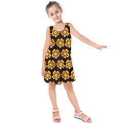 Yellow Brown Flower Pattern On Brown Kids  Sleeveless Dress by Costasonlineshop