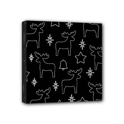 Black Xmas Pattern Mini Canvas 4  X 4  by Valentinaart