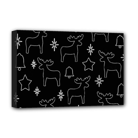 Black Xmas Pattern Deluxe Canvas 18  X 12   by Valentinaart