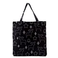 Black Xmas Pattern Grocery Tote Bag by Valentinaart
