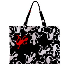 Red Lizard Zipper Mini Tote Bag by Valentinaart
