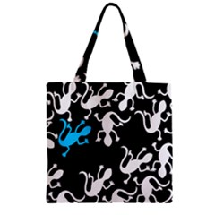 Blue Lizard Zipper Grocery Tote Bag by Valentinaart