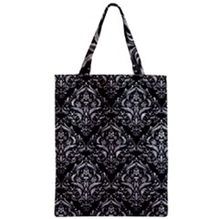 Damask1 Black Marble & Gray Marble Zipper Classic Tote Bag by trendistuff