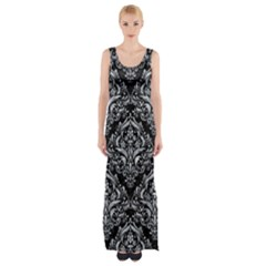 Damask1 Black Marble & Gray Marble Maxi Thigh Split Dress by trendistuff