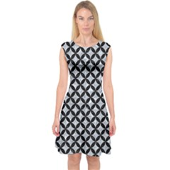 CIR3 BK-GY MARBLE (R) Capsleeve Midi Dress by trendistuff