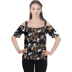 Brown Lizards Pattern Women s Cutout Shoulder Tee by Valentinaart