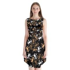 Brown lizards pattern Sleeveless Chiffon Dress   by Valentinaart