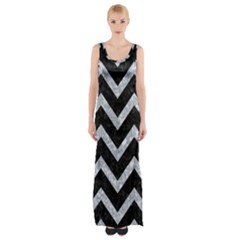 Chevron9 Black Marble & Gray Marble Maxi Thigh Split Dress by trendistuff