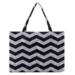 Chevron3 Black Marble & Gray Marble Medium Zipper Tote Bag by trendistuff