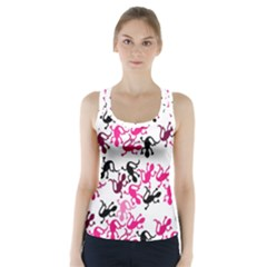 Lizards Pattern   Magenta Racer Back Sports Top by Valentinaart