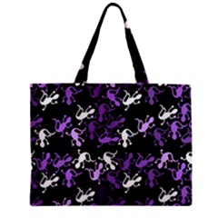 Purple Lizards Pattern Zipper Mini Tote Bag by Valentinaart