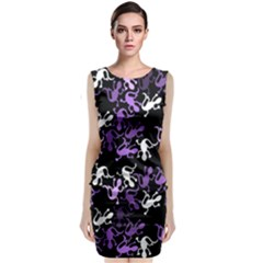 Purple Lizards Pattern Classic Sleeveless Midi Dress by Valentinaart