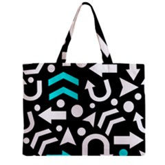 Right Direction   Cyan Zipper Mini Tote Bag by Valentinaart