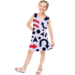 Red right direction Kids  Tunic Dress by Valentinaart