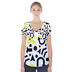 Yellow Right direction  Short Sleeve Front Detail Top by Valentinaart