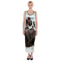 French Bulldog Pile Of Puppies Fitted Maxi Dress by TailWags